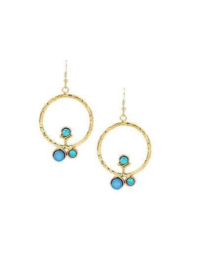 Round Gold Colored Turquoise Blue Druzy Party Wear Earrings