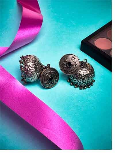Black Stone and Lotus Embellished Tribal Jewellery Silver Plated Jhumkis