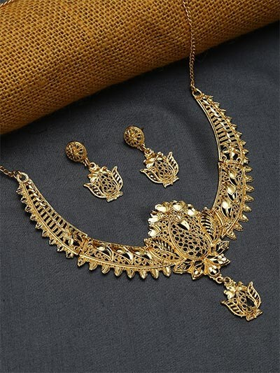 Golden Necklace Set with Peacock Motifs