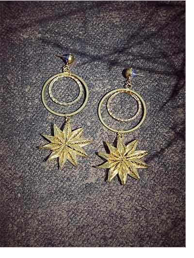 Star Hoop Earrings in Gold Color