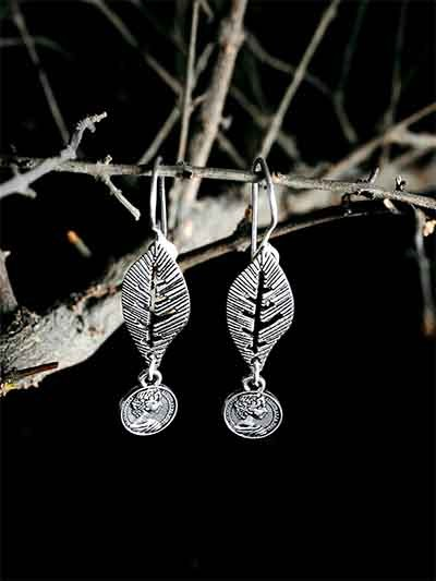 Casual-wear Oxidized Silver Leaf Earrings
