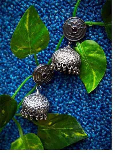 Silver Plated Brass Jhumkas For Women & Girls