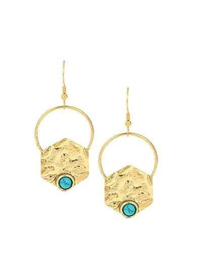 Ethnic Gold Colored Turquoise Handmade Jewellery Earrings