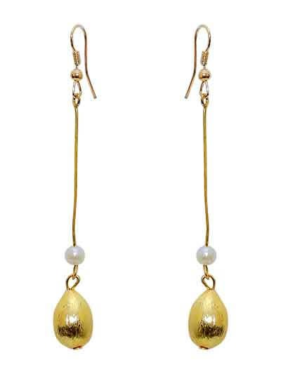 Golden Chain Pearl Drop Handmade Jewellery Earrings