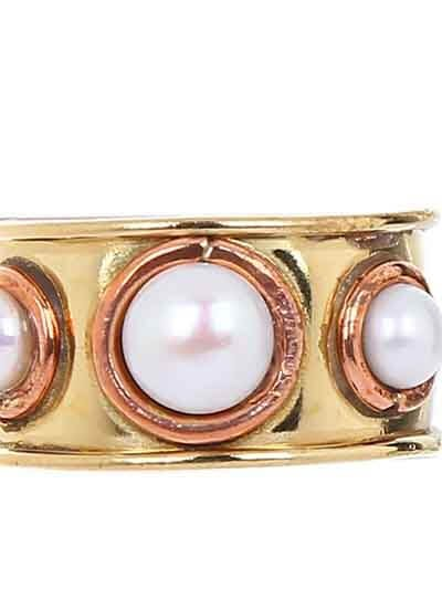 White Stones Brass Handmade Jewellery Ring