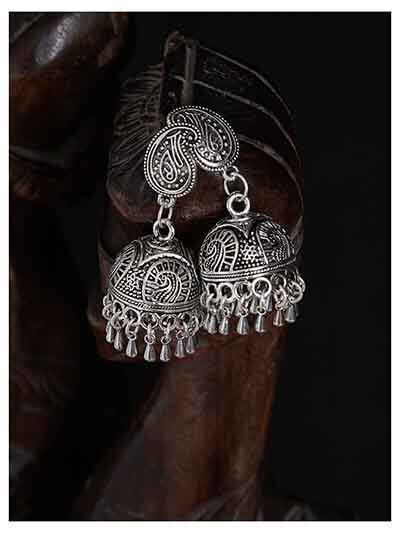 Mor Design Short Oxidized Jhumki Earrings With Hanging Bells