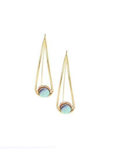 Abalone Droplet Brass Earrings