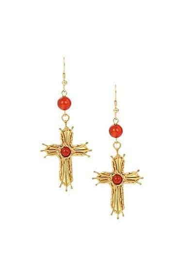 Gold Cross Carnelian Party Wear Earrings