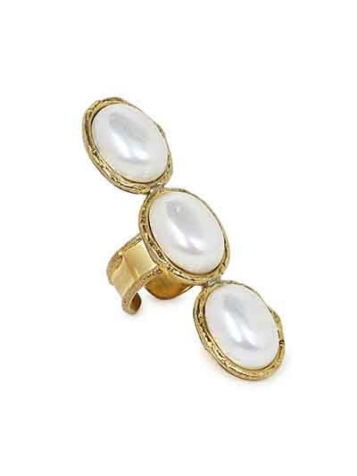 Pearl Brass Escape Handmade Jewellery Ring