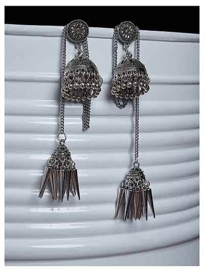 Oxidized Silver Kashmiri Short Jhumki Earrings With Pretty Hangings
