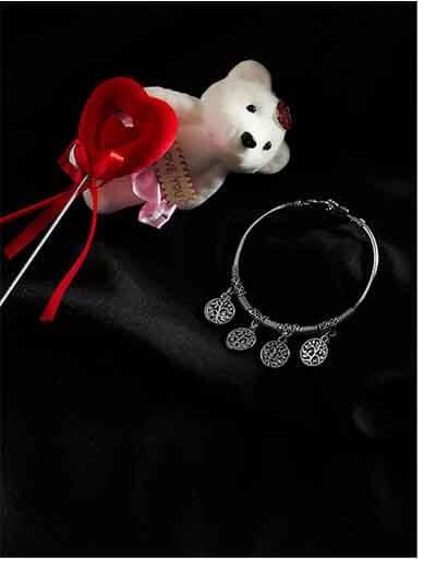 Floral Oxidized Silver Bracelet