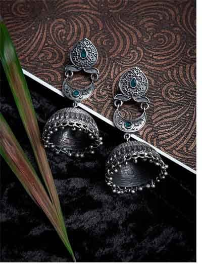 Deity Green Stone Embellished Crescent Tribal Jewellery Silver Plated Jhumkis