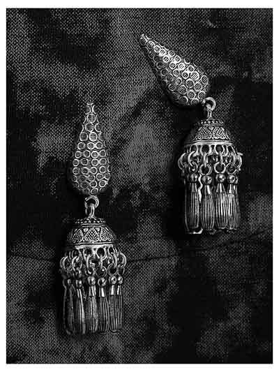 Patterned Drop Shaped Oxidized Silver Jhumki Short Earrings With Pretty Hangings