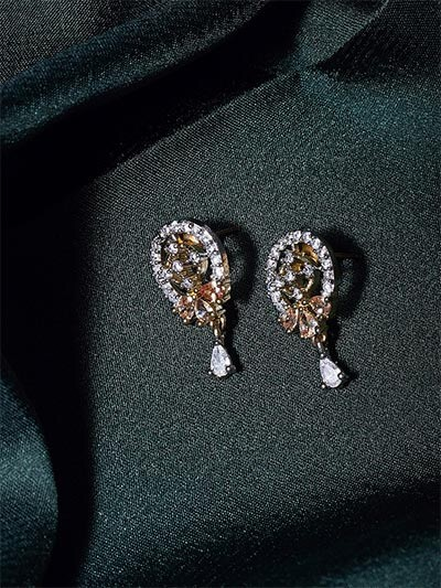 American Diamond Oval Stud Earrings