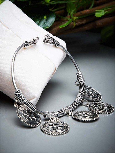 Pretty Metallic Hangings and Floral Motifs Embellished Oxidized Tribal Jewellery Cuff Bracelet