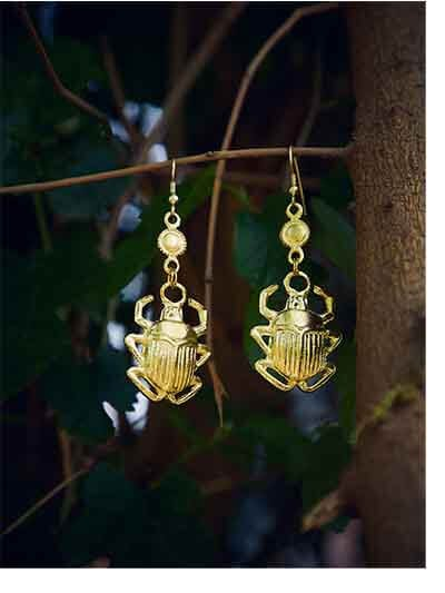 Golden Beetle Artificial Earrings