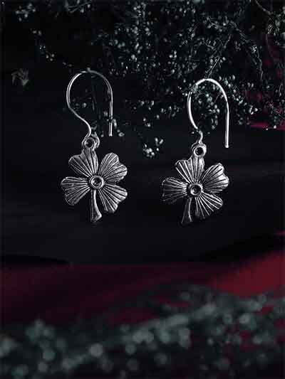 Short Oxidized Silver Flower Earrings