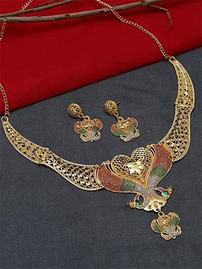 Multicolored Necklace Set with Floral Motifs