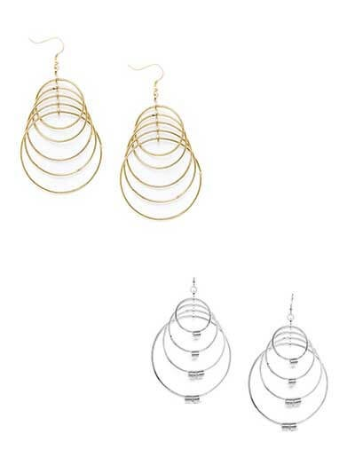 Combo of Layered Golden and Silver Hoop Earrings