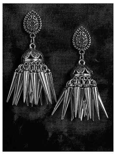Quirky Oxidized Silver Short Jhumki Earrings With Silver Hangings