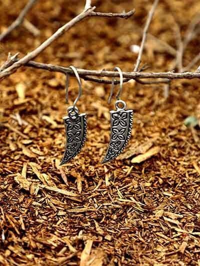 Floral Oxidized Silver Sword Earrings