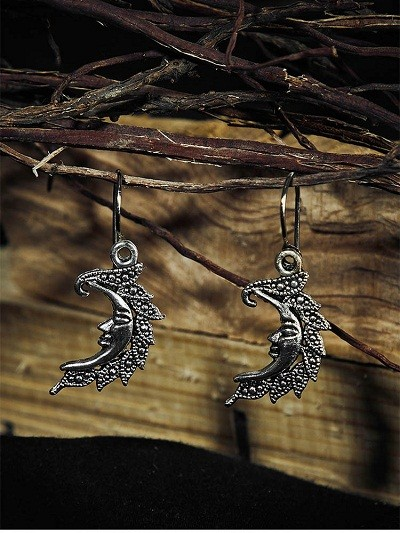 Oxidized Silver Short Crescent Earrings