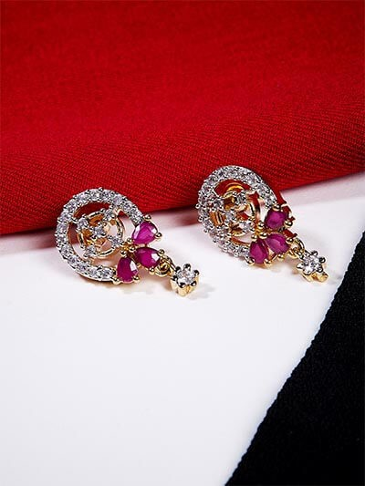 American Diamond Oval Stud Earrings with Red Stones