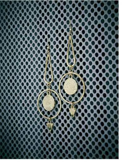 Coin Hoop Earrings in Gold Color