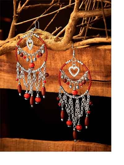 Hanging Hearts and Silver Chains with Beads Western Earrings