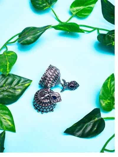 Classic Peacock Vintage Styled Tribal Jewellery Silver Plated Jhumkis with Black Stone