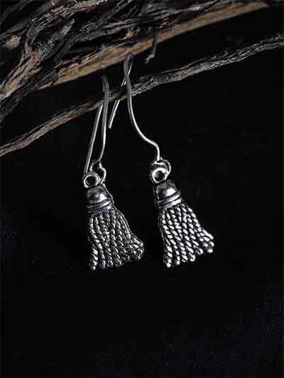 Oxidized Silver Broom Earrings