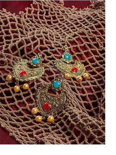 Blue and Red Stone Studded Golden Maang Tika Set