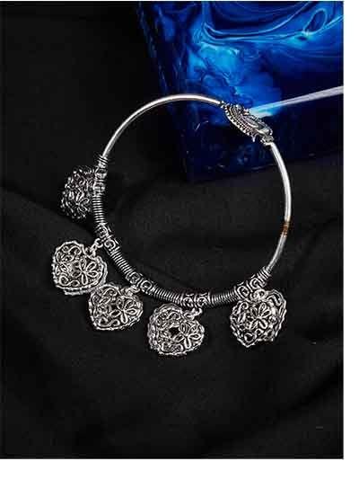 Oxidized Heart Charm Bracelet