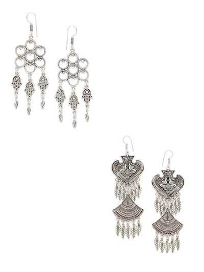 Combo of Long Oxidized Silver Dangler Earrings