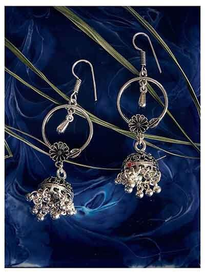 Floral Oxidized Silver Jhumki Balis