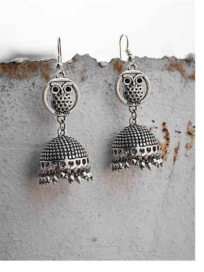 Owl Embellished Tribal Jewellery Earrings With Pretty Little Hangings