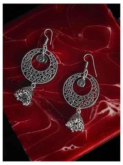 Designer Oxidized Silver Long Jhumka Earrings