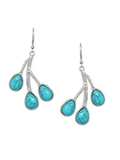 Turquoise Silver Noble Party Wear Earrings