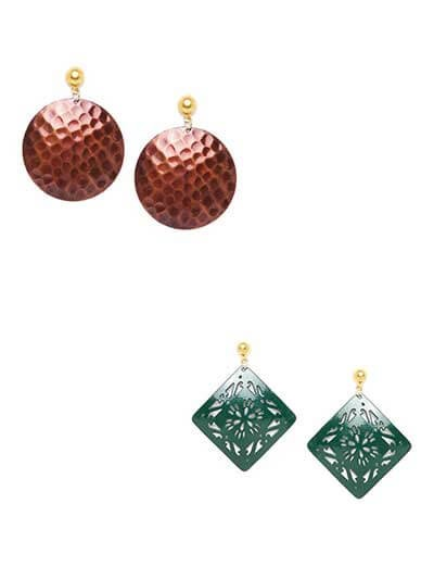 Combo of Red Disc Earrings and Green Square Earrings