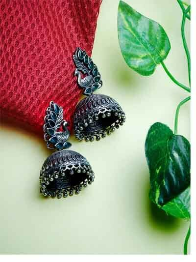 Peacock and Green Stones Embellished Tribal Jhumkis