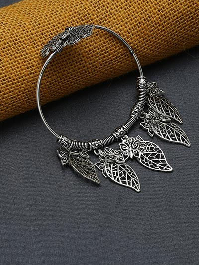 Adjustable Oxidized Silver Bracelet With Butterfly Charms