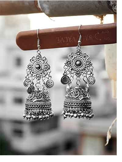 Embellished Tribal Jewellery Jhumki Earrings With Hanging Smilies