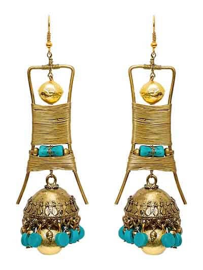 Teal and Gold Ethnic Tribal Jewellery Jhumka Earrings