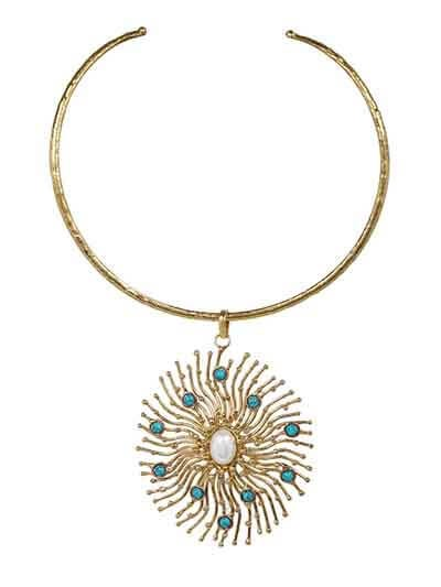 Pearl and Turquoise Dainty Island Choker Fashion Necklace
