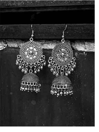Hearts And Everything Pretty Embellished Tribal Jewellery Jhumki Earrings