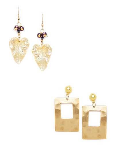Combo of Golden Leaf Earrings and Golden Rectangle Earrings