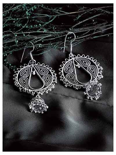 Oxidized Silver Circular Jhumka Earrings