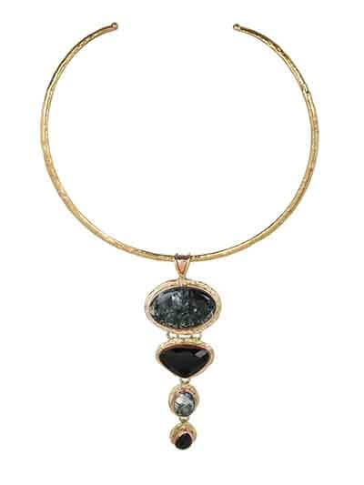 Seraphinite Black Clasping Choker Fashion Necklace