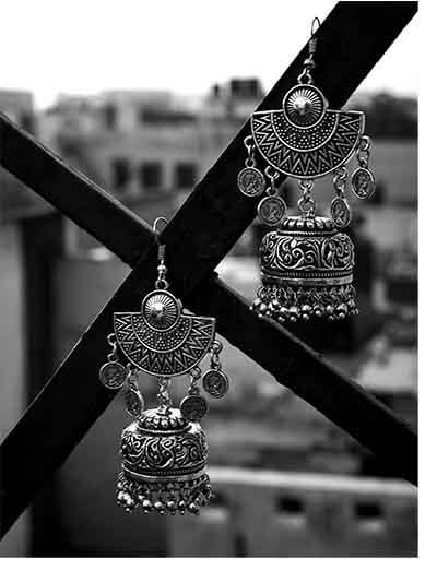 Designer Tribal Jewellery Embellished Jhumki Earrings