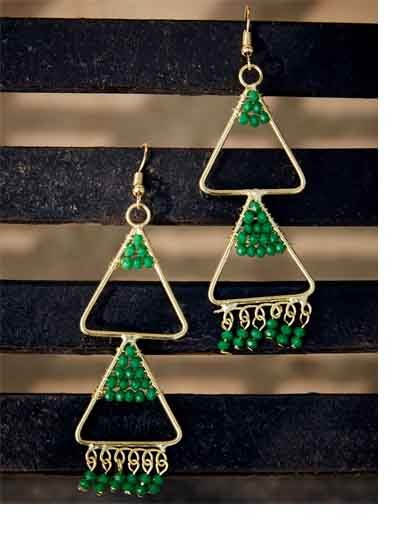 Layered Triangular Green Beads Classic Golden Western Earrings